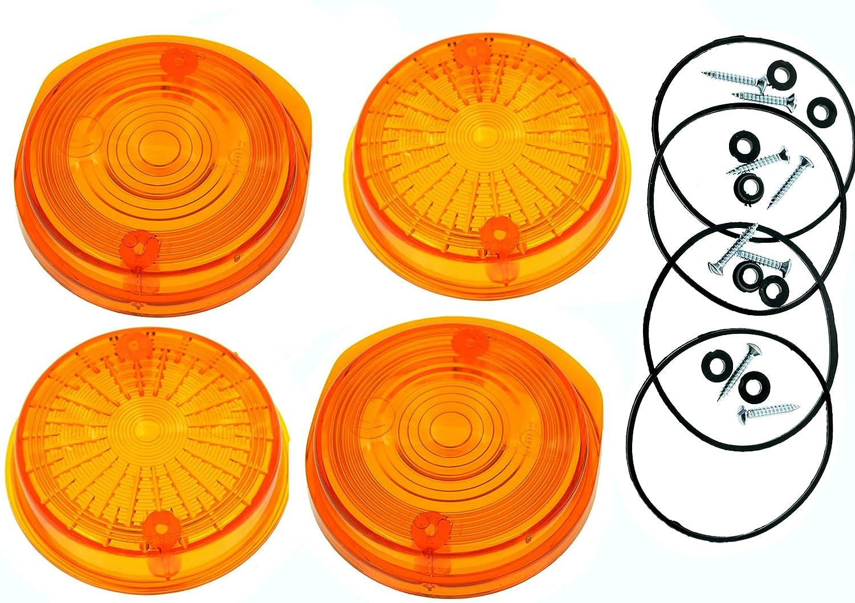 4 ST/ÜCK Blinkerkappe rund f/ür MZ TS und ETZ orange mit E-Pr/üfzeichen