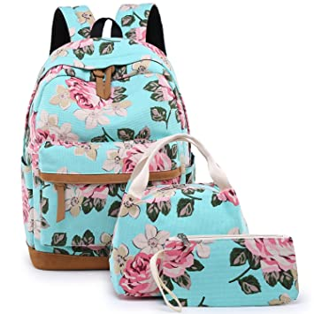 6d66f9ce7850 BLUBOON School Backpack for Teens Girls Bookbags Set 15 inches Laptop Bag  Kids Lunch Bag and Pencil Case (Big Floral - Water Blue)