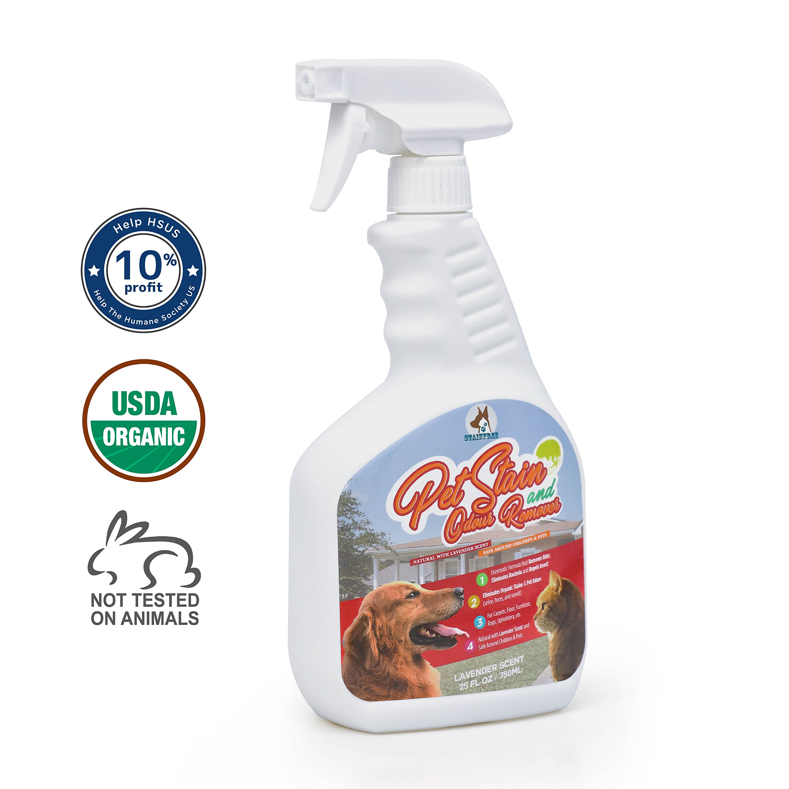 StainFree's Disinfectant, Pet Stain & Odour Remover from Natural Ingredients - Multi-Surface Enzyme Cleaner Spray for Dog or Cat Urine, Feces, Vomit, Drool