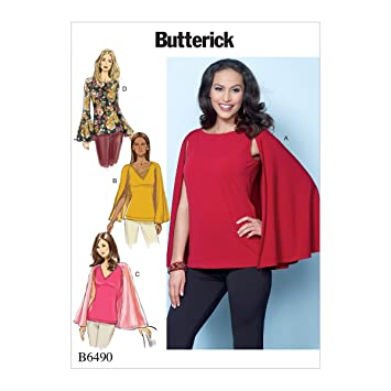 Butterick Patterns 6490 A5 Misses Top Schnittmuster, mehrfarbig ...