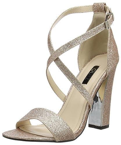 1c386cab3eb Quiz Women s Rose Gold Glitter peep Toe Ankle Strap Sandals