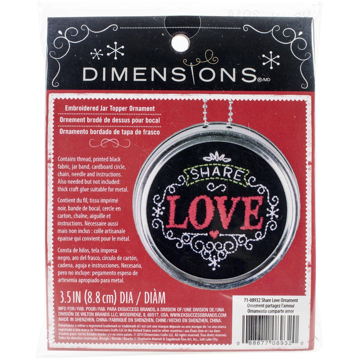 Dimensioni Condividere Amore Ornamento Timbrato Kit di Ricamo, Diametro 8,9 cm.