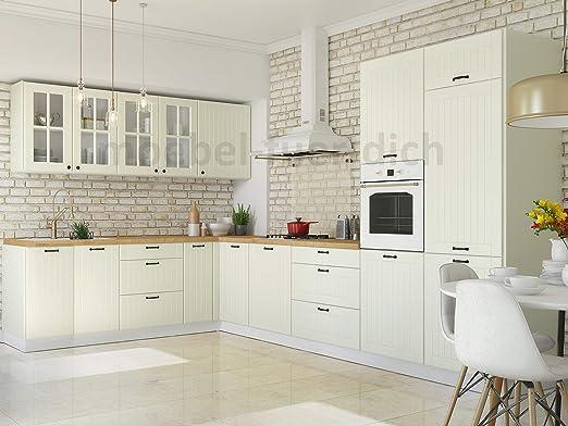 Möbel für Dich Landhaus Küchenzeile Eckküche LORA L-Form 9x9 cm,  9-teilig in Weiß, Beige oder Grau (weiß)