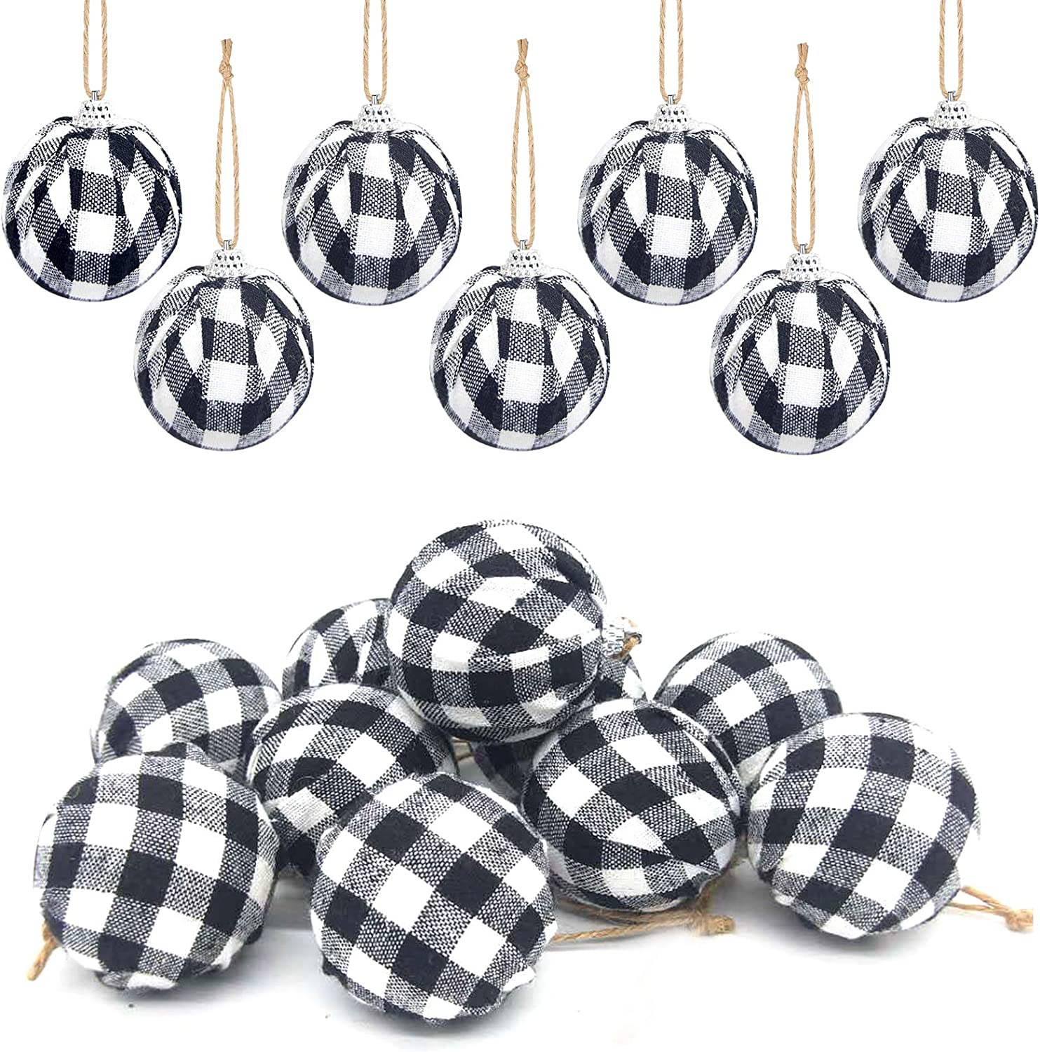 Deloky 16Pcs Buffalo Plaid Fabric Ball- 2.16 Inch Small Christmas Fabric Wrapped Balls Christmas Hanging Ornament for Halloween Party Decor Christmas Tree Party Decoration Supplies (Black&White)