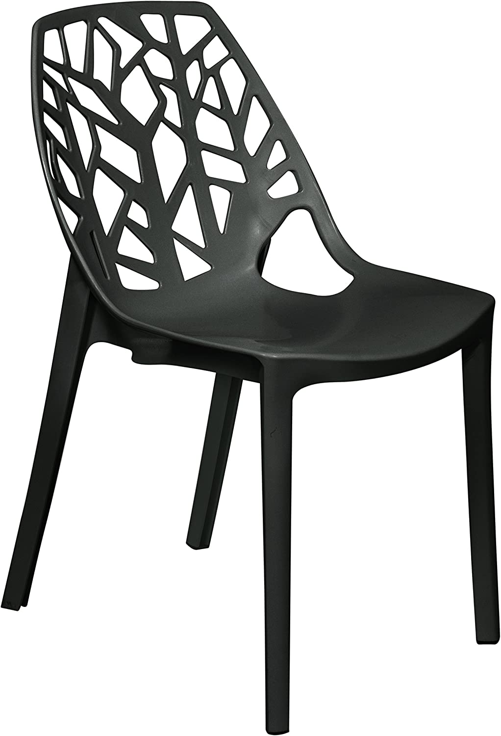 LeisureMod Caswell Cut-Out Tree Design Modern Dining Chairs Solid Black