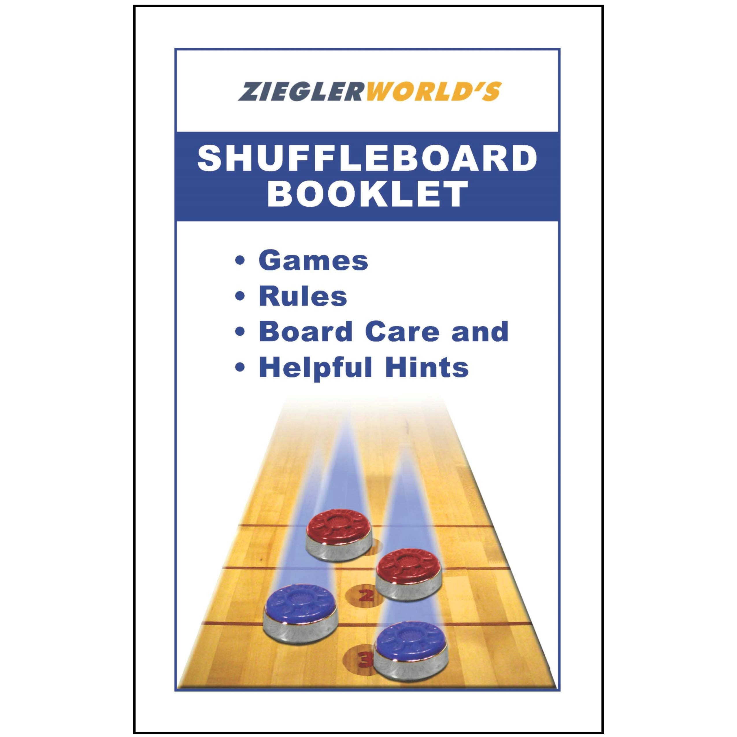 ZieglerWorld Table Large Shuffleboard Puck Weights - 4 Pucks - Black Colors + Booklet by ZieglerWorld