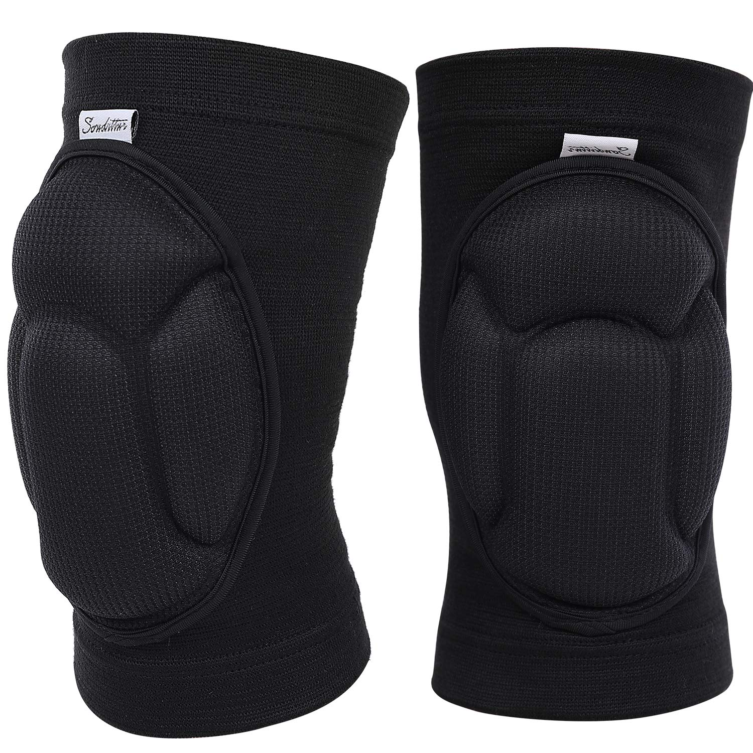 Soudittur Protective Knee Pads Adult Anti-Slip Knee Guards Thick Sponge Collision Avoidance Warm Knee Sleeve for Volleyball Football Yoga Dance Work Gardening Knee Pads for Men Women 2PCS, Black