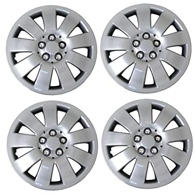 TuningPros WSC3-721S15 4pcs Set Snap-On Type (Pop-On) 15-Inches Metallic Silver Hubcaps Wheel Cover: Automotive