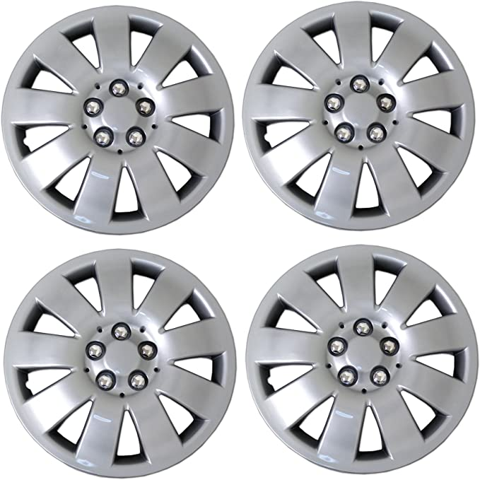 Tuningpros WC3-16-1025-S 16-Inches Style 1025 Snap-On Pack of 4 Hubcaps Type Metallic Silver Wheel Covers Hub-caps Pop-On