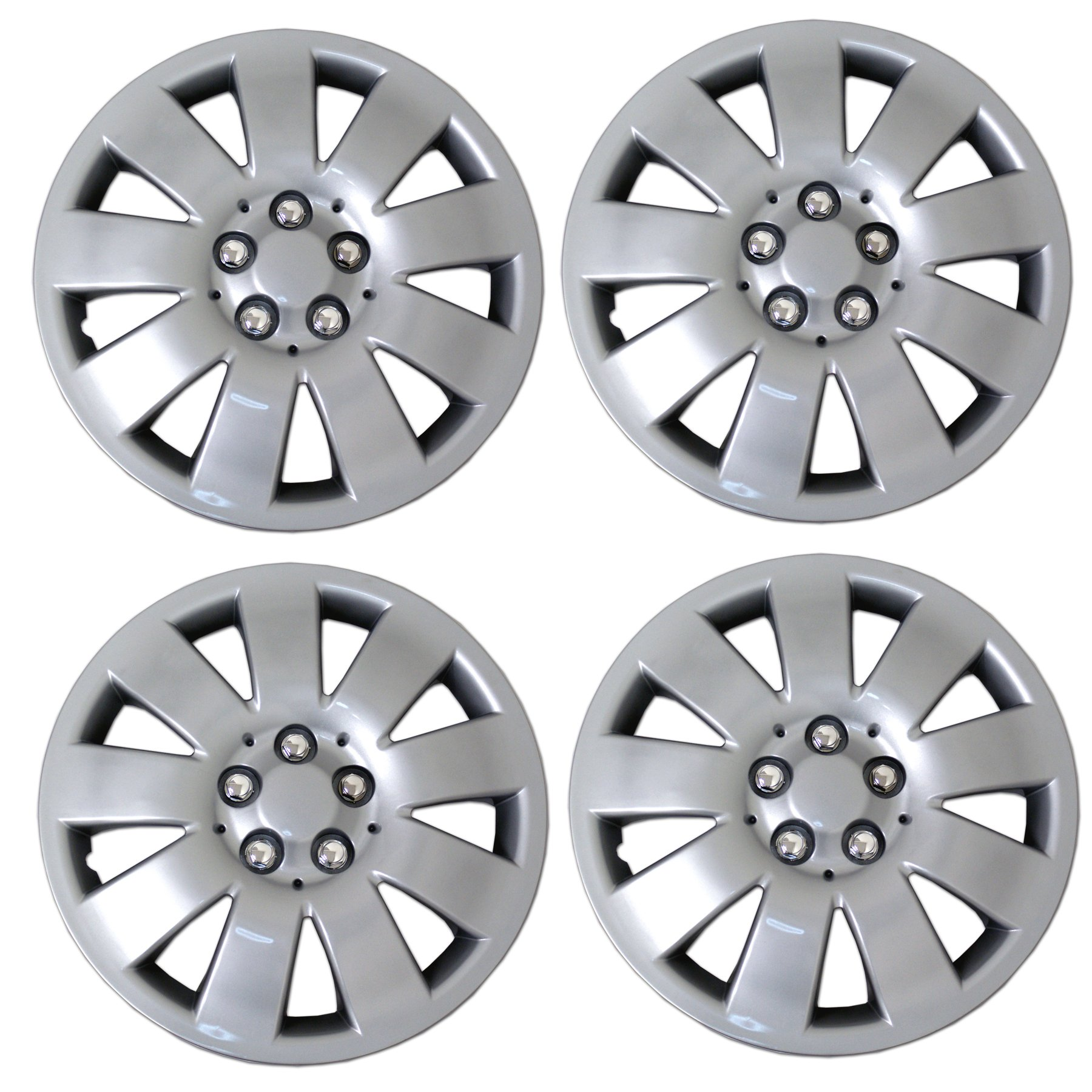 TuningPros WSC3-721S16 4pcs Set Snap-On Type (Pop-On) 16-Inches Metallic Silver Hubcaps Wheel Cover