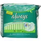Always Ultra Thin Long/Super With Wings Unscented Pads 16 Count Pack of 2
