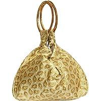 Bagaholics Ethnic Clutch Silk Potli Batwa Pouch Bag with Metal Beadwork