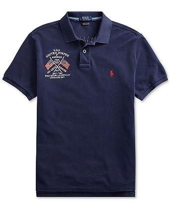 d4830260 Ralph Lauren Polo Men's Custom Slim Fit Mesh Polo Shirt (Medium, Cruise Navy)  at Amazon Men's Clothing store: