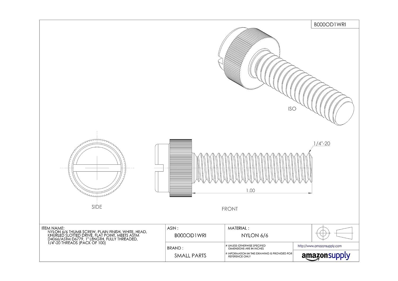 Flat Point Nylon 6//6 Set Screw 1-3//4 Length #8-32 Threads Plain Finish Pack of 100 Slotted Drive