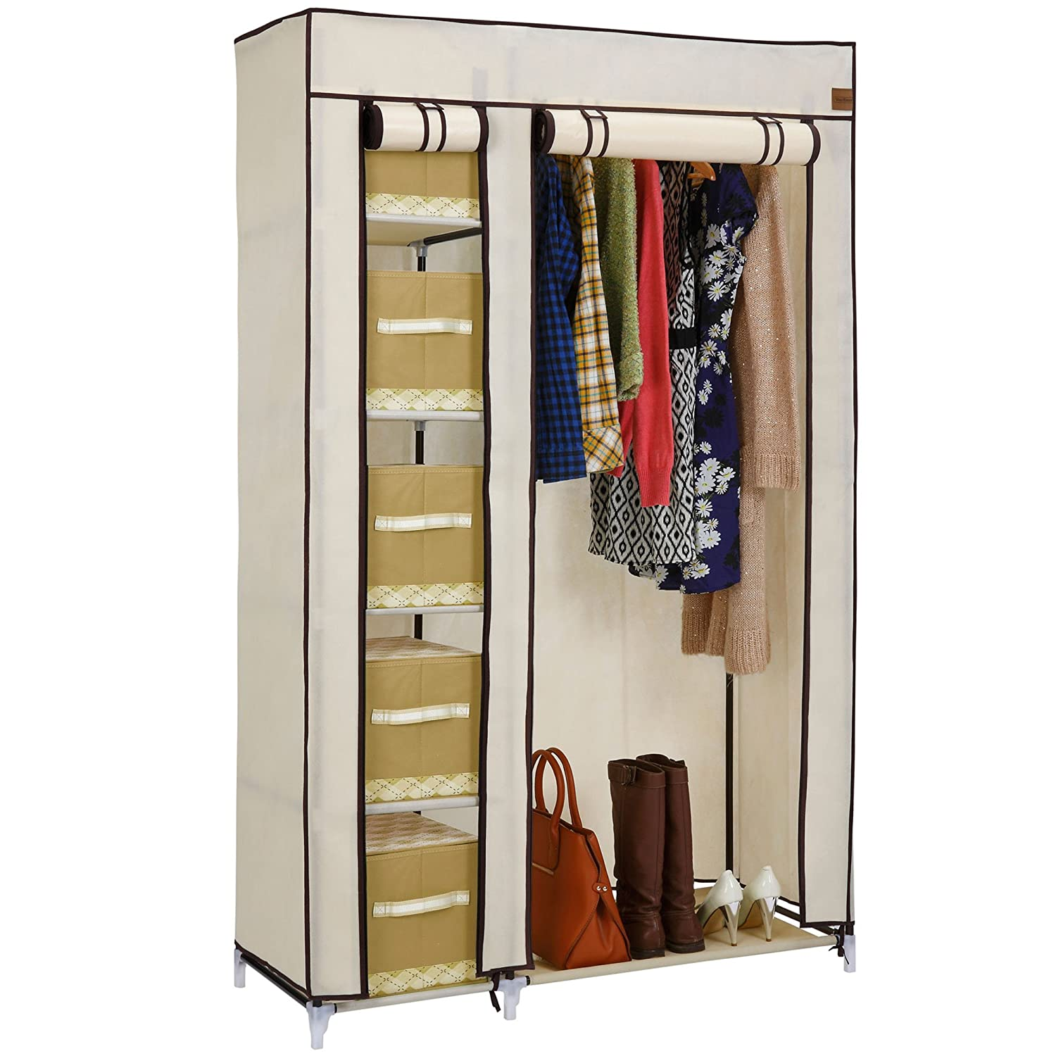 Bedroom furniture wardrobes - Vonhaus Double Canvas Effect Wardrobe Clothes Cupboard Hanging Rail Storage 6 Shelves Beige W110 X D45 X H175cm