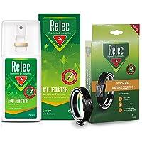 Pack Ahorro antimosquitos Relec Fuerte + Pulsera adulto-negra, Repelente de mosquitos, Eficaz contra el mosquito tigre…