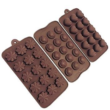 3 moldes de silicona para chocolate, bombones, masa, cubitos de hielo, velas y jabon: Amazon.es: Hogar