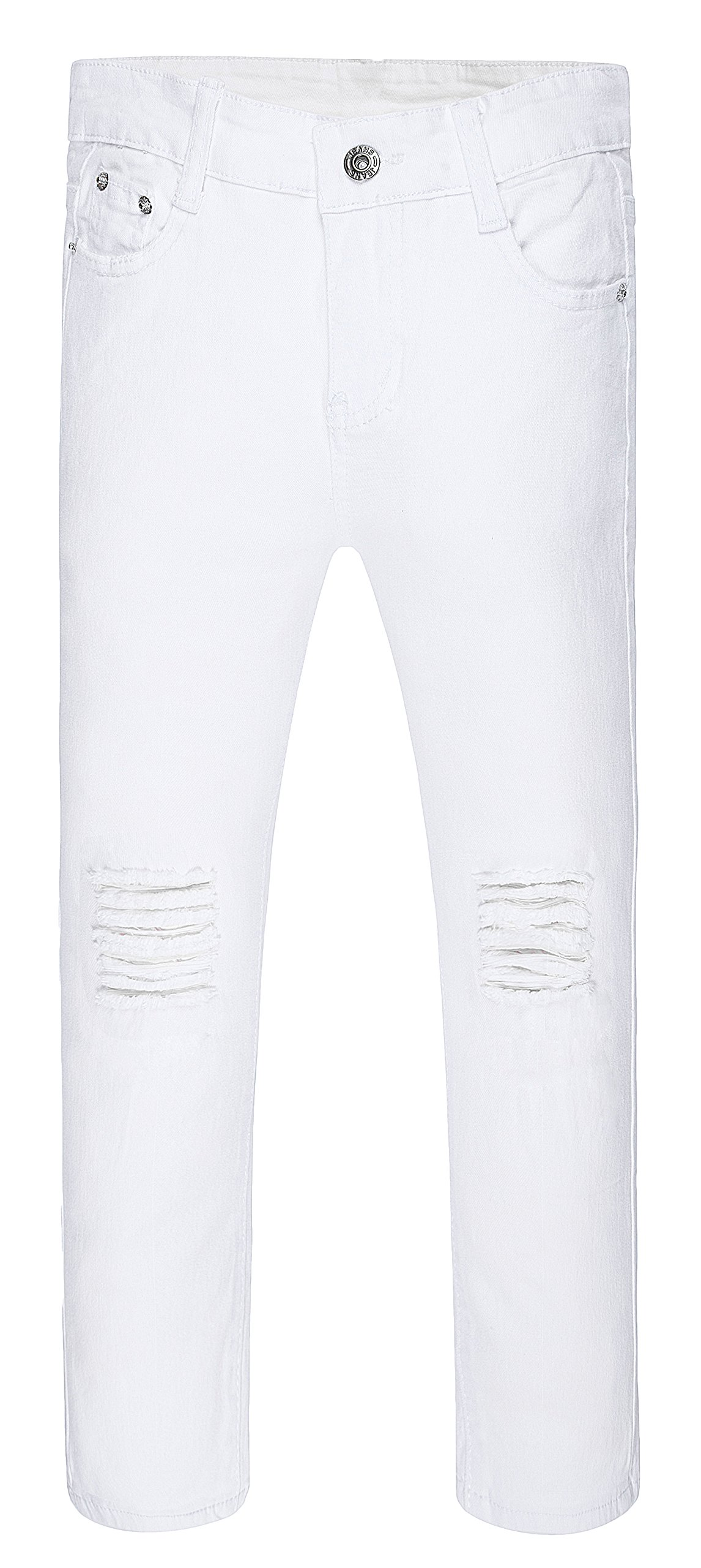 Boy's Ripped Skinny Jeans Destroyed Stretch Slim Distressed Pants White 14