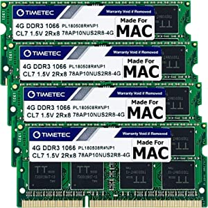 Timetec Hynix IC 16GB KIT(4x4GB) Compatible for Apple DDR3 1067MHz / 1066MHz PC3-8500 for iMac (Late 2009 21.5-inch / 27-inch) MAC SODIMM RAM Upgrade | MAX Slots Upgrade for iMac 10,1 iMac 11,1