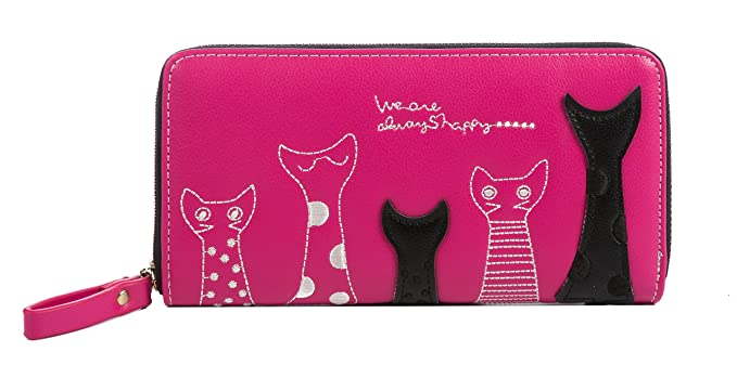 "Nawoshow Mujer Cartera Cute Cat Billetera Bifold Larga Monedero con cremallera,""Alaways Happy"""