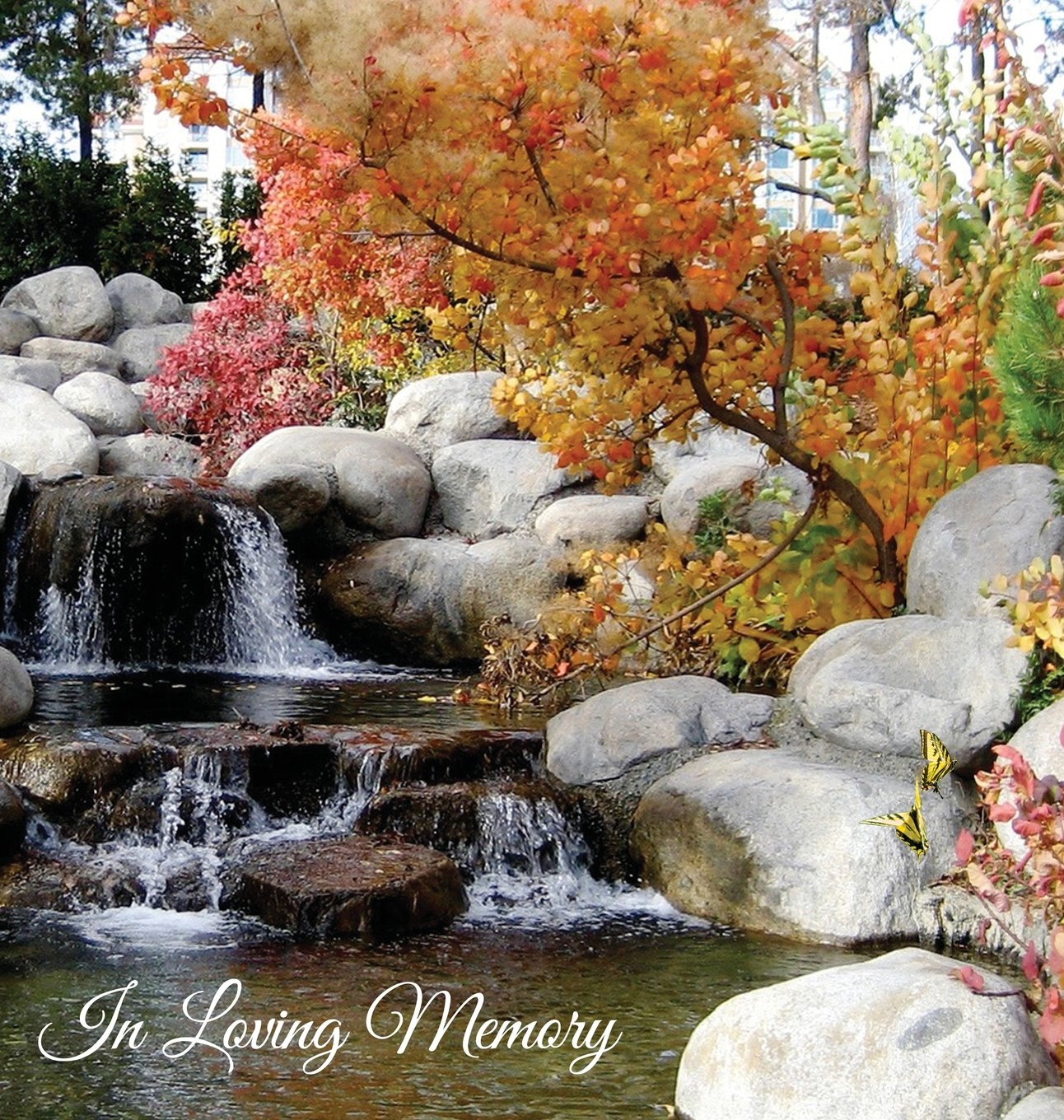 Funeral Guest Book in Loving Memory, Memorial Guest Book, Condolence Book, Remembrance Book for Funerals or Wake, Memorial Service Guest Book: A ... a Gloss Finish with Waterfall Garden Scene
