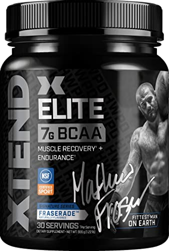 Scivation XTEND Elite BCAA Powder Fraserade Sugar Free Post Workout Muscle Recovery Drink with Amino Acids 7g BCAAs for Men Women Designed Exclusively with Mat Fraser 30 Servings