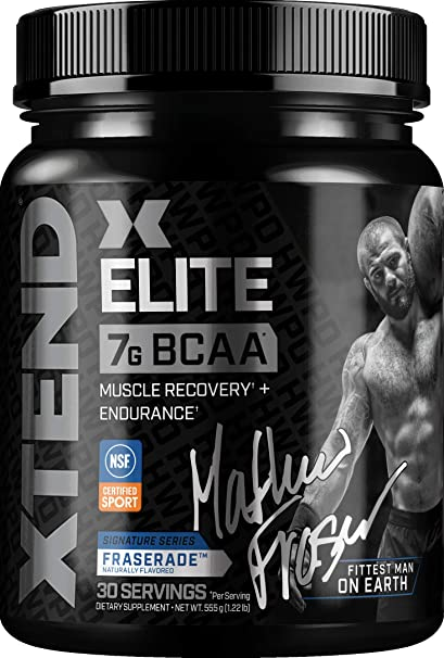 Scivation XTEND Elite BCAA Powder Fraserade | Sugar Free Post Workout Muscle Recovery Drink with Amino Acids | 7g BCAAs for Men & Women | Designed Exclusively with Mat Fraser | 30 Servings