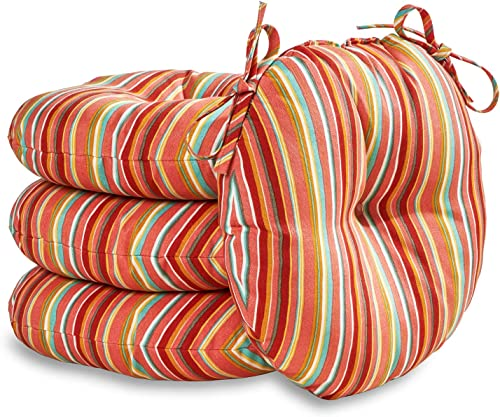 South Pine Porch AM6816S4-WATERMELON Watermelon Stripe 15-inch Round Outdoor Bistro Chair Cushion