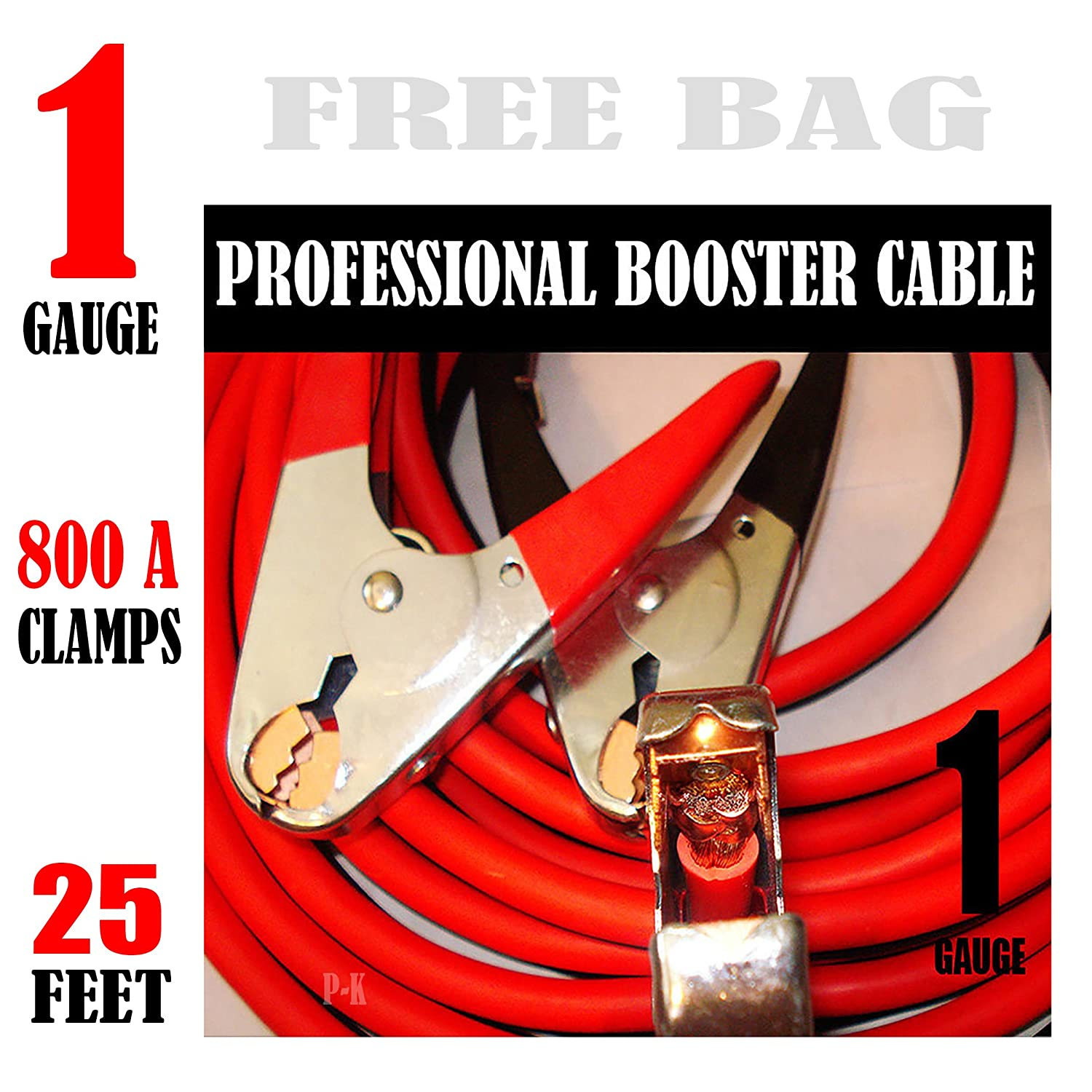 Industrial Heavy duty 25 Feet 1 Gauge Booster Jumper Cables paka tools