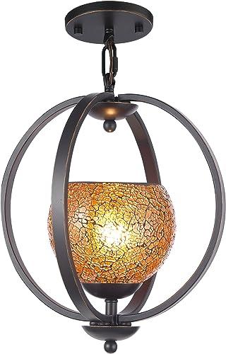 Woodbridge Lighting 13923MEB-M00AMB Geo 1-Light Mid Pendant, Metallic Bronze
