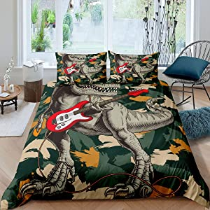 Kids Dinosaur Comforter Cover Camouflage Bedding Set Guitar Electronic Music Hippie Duvet Cover For Teen Boys Young Dinos Hip Hop Rock Roll Bedspreads Cover Child Room Decor 2 Pillow Cases Full Size