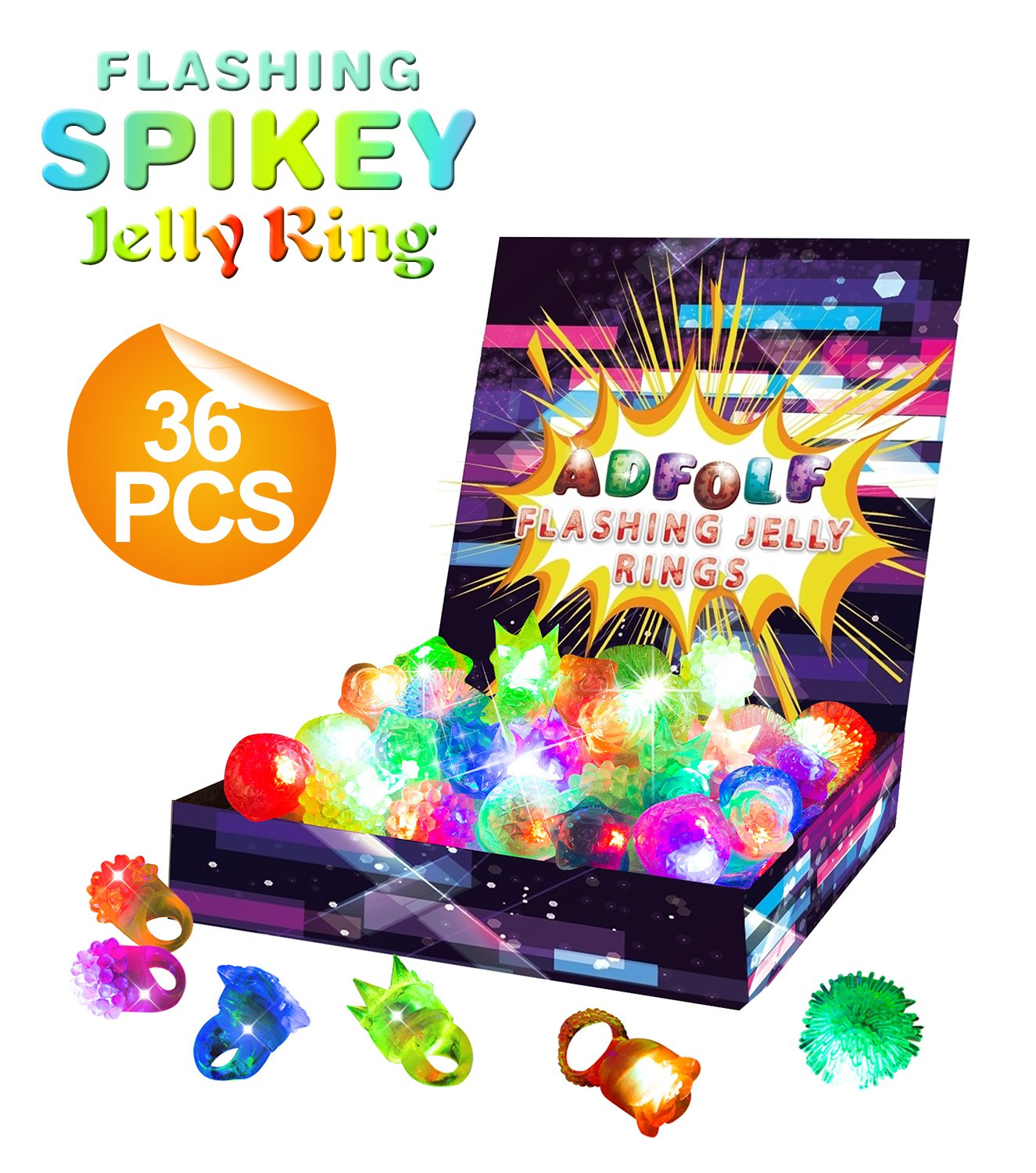 36 Pack Flashing Led Bumpy Rubber Rings for Party Favors,Light Up Finger Toy