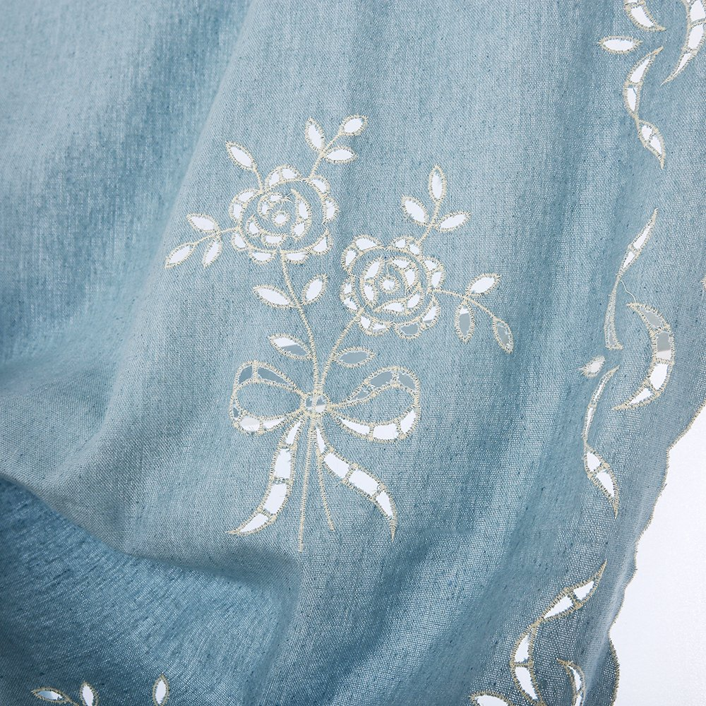 ZHH 47 Inch By 69 Inch Hollow-out Handmade Embroidered Flowers Cotton Tie-Up Roman Shade Curtain, Blue by ZHH (Image #4)