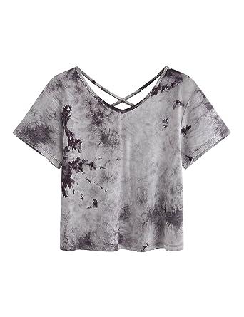 552a87874b9ee SweatyRocks Women s Tie Dye Criss Cross Back Short Sleeve Crop ...