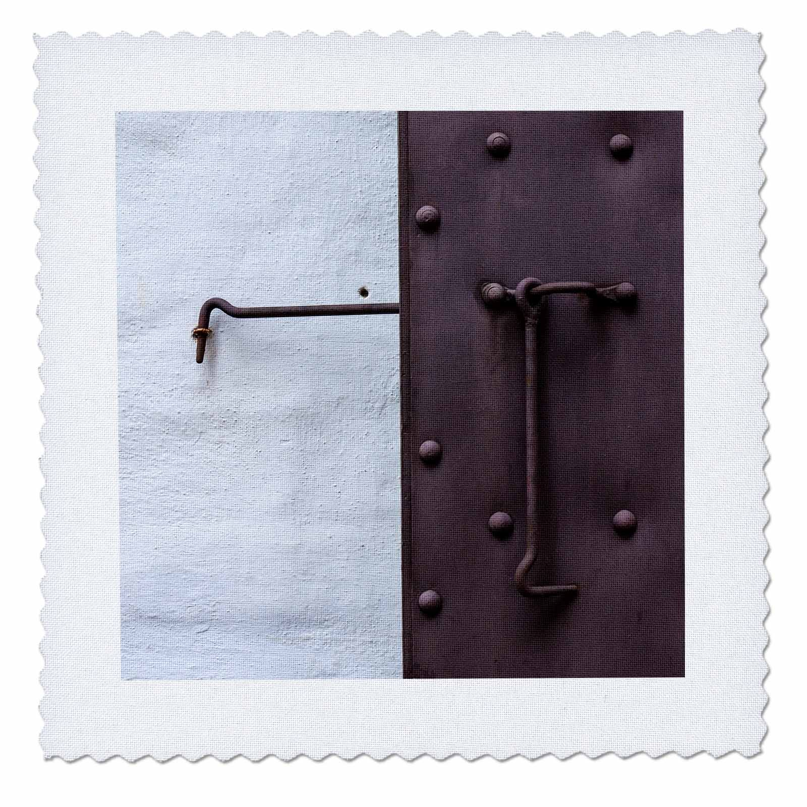 3dRose Alexis Photography - Objects - White wall, window shutter, iron hooks. Allegory of Day and Night - 22x22 inch quilt square (qs_267247_9)