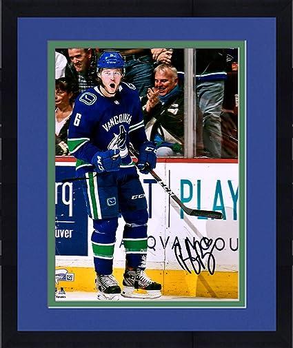 Framed Brock Boeser Vancouver Canucks Autographed 8 quot  x 10 quot  Blue  Jersey Celebration Photograph - 6ef54a737