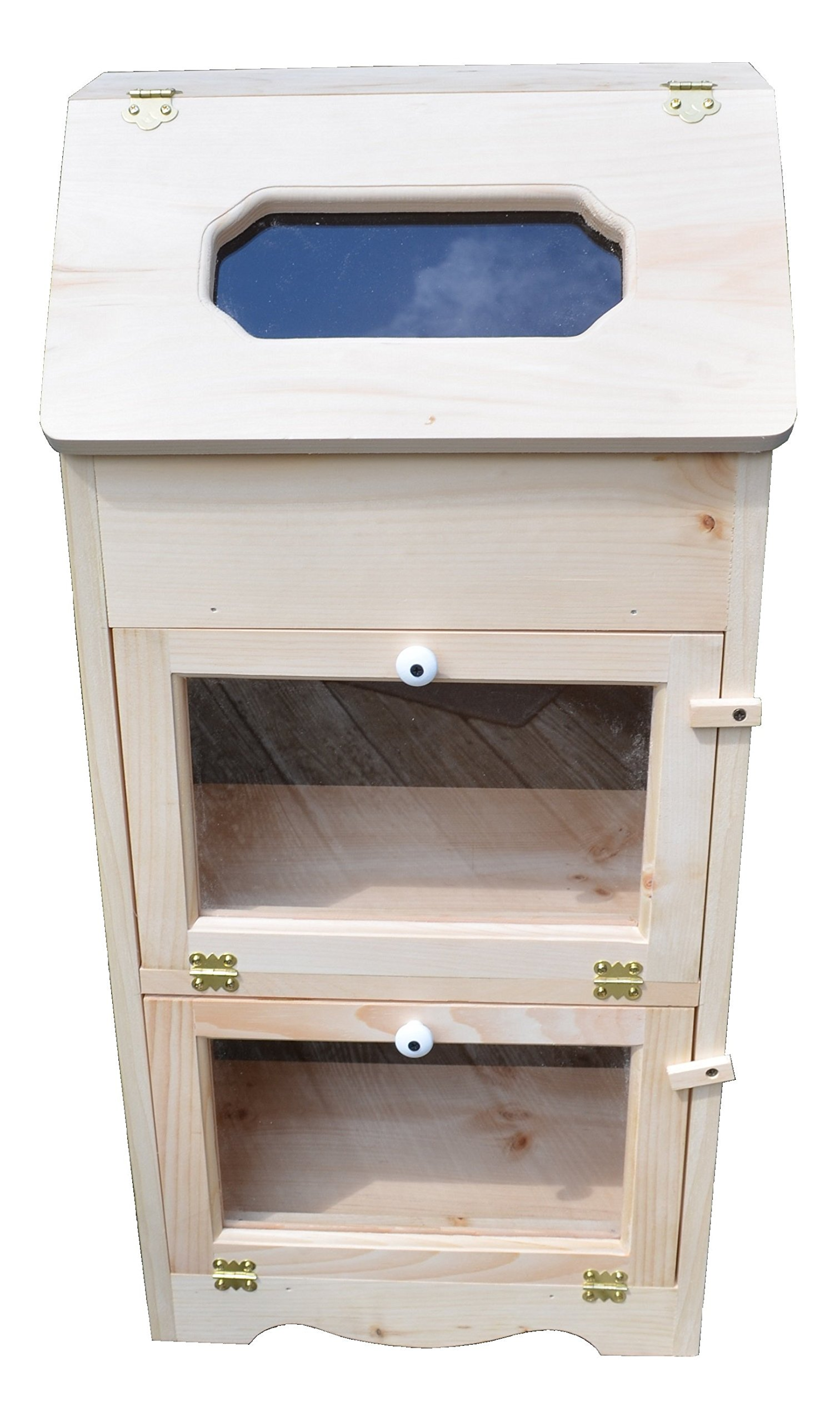 Amish Handcrafted Solid Pine Bread Box and 2 Clear Plexi Door Vegetable Bin. Measures 16.5'' L X 11'' W X 35'' H.