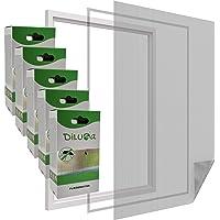 DILUMA   vliegengaas raam 130 x 150 cm zwart set van 5   transparant en inkortbaar vliegennet met 5,6 m klittenband…
