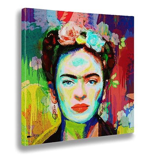 Giallobus - Cuadro ya Enmarcado - Impresion en Lienzo - Frida - Pinturas Modernas en Lienzo para decoración casa diseño - salón - Varios Tamaños XXL - ...