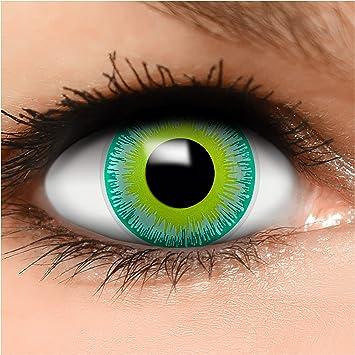 FUNZERA® Lentillas de Colores Green Alien + recipiente para lentes de contacto, sin dioptrías pack de 2 unidades - cómodas y perfectas para Halloween, Carnaval, sin corregir: Amazon.es: Salud y cuidado personal