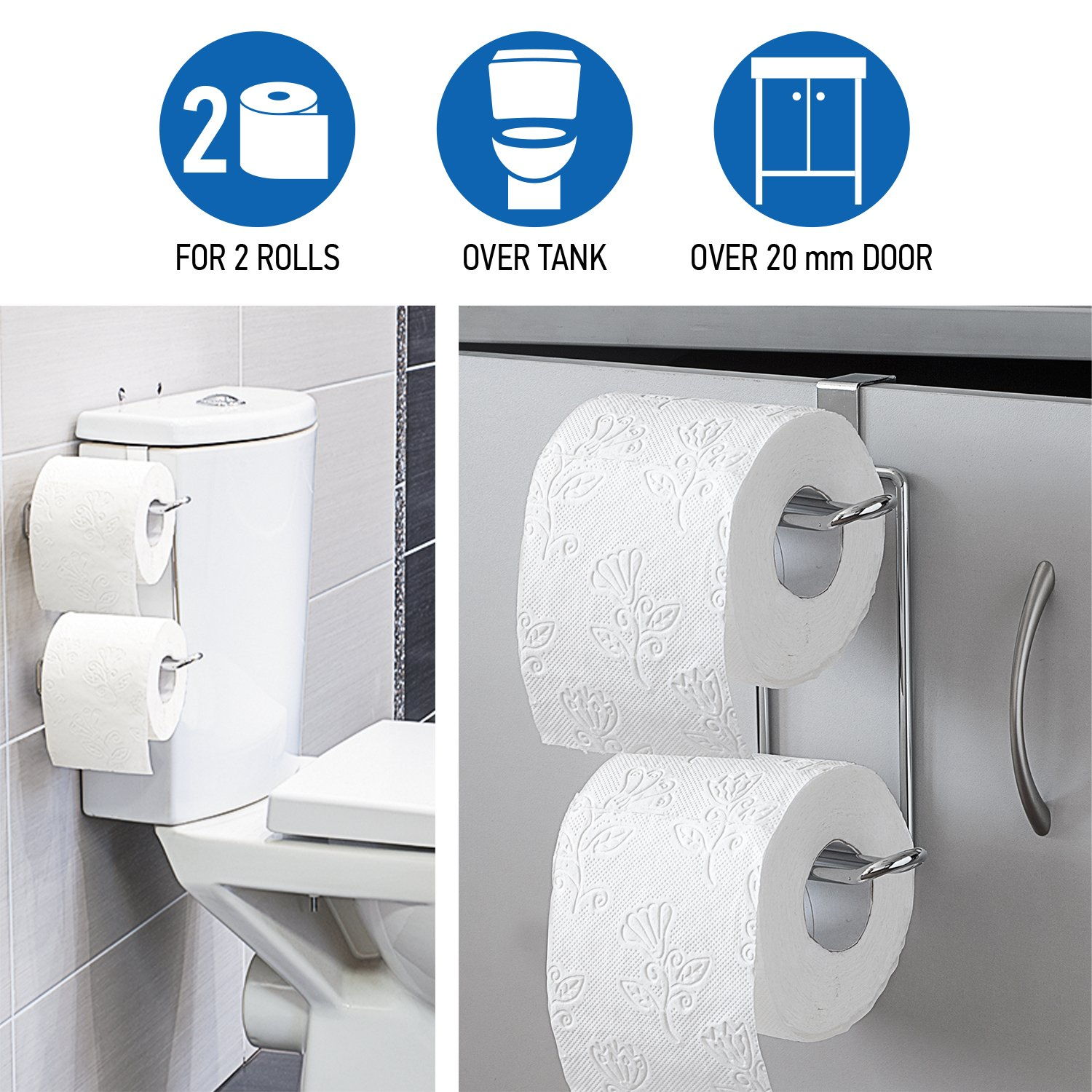 Wonder Worker Clever Over the Tank 2 Roll Toilet Paper Holder for Bathroom Storage,