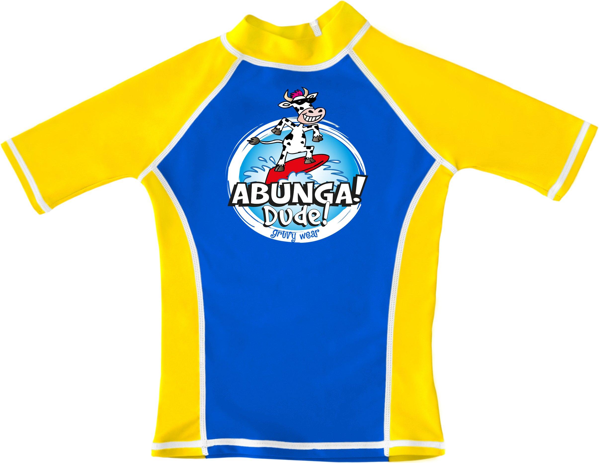 91f9957b3e541 grUVywear Boys UV Sun Protective Surf Rashguard Short Sleeve Swim Shirt UPF  50+ (Royal Blue Yellow, M 7-8)