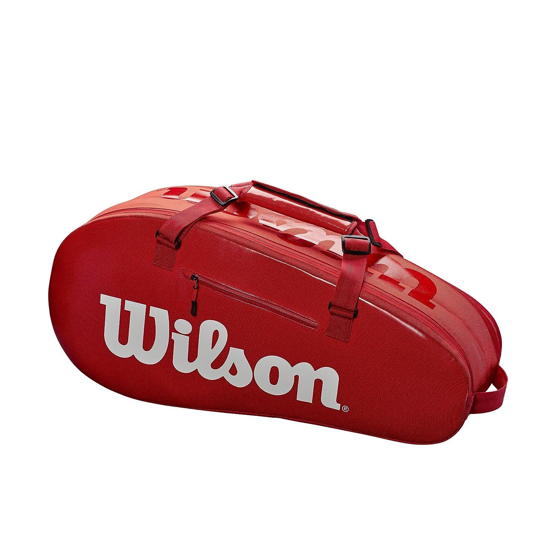 ウィルソン(Wilson) SMALL SUPER TOUR 2 COMPARTMENT TENNIS BAG 6PK ラケットバッグ レッド WRZ840803 B07F1V5CH6