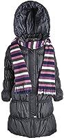 Sportoli Girls Hooded Warm Winter Long Puffer Bubble Coat with Matching Scarf