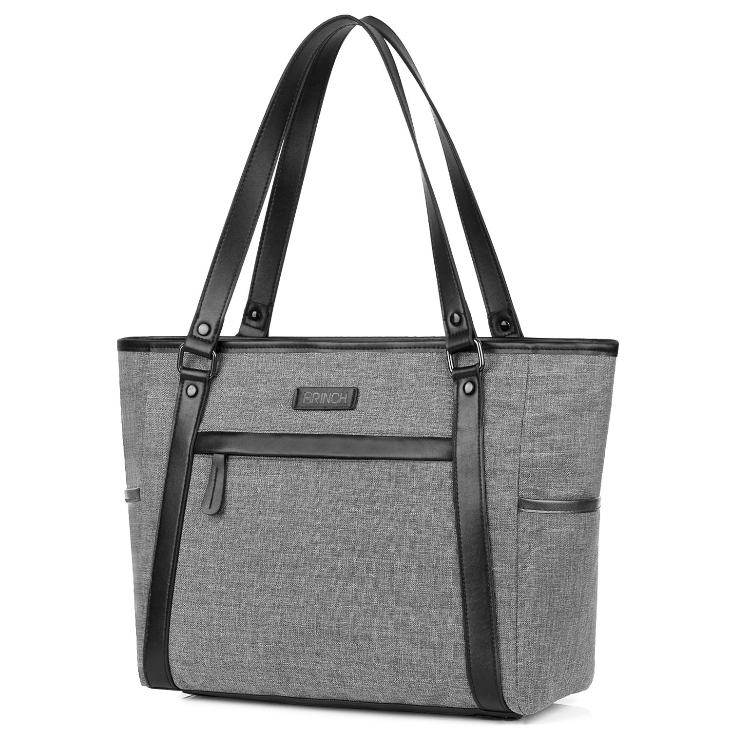 Laptop Tote Bag for Women, BRINCH Classic Nylon Work Tote Bag Shopping Bag Carry Travel Business Briefcase Shoulder Bag Handbag for Up to 15.6 Inch Laptop/Notebook / MacBook/Tablet,Grey