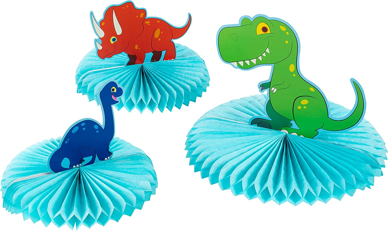 Dinosaur Party Decoration - 3-Piece Dinosaur Honeycomb Decoration Centerpiece, Kids Birthday Party Supplies for Boys, T-Rex, Triceratops, and Brachiosaurus