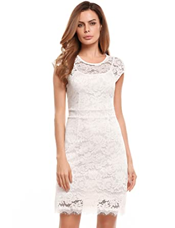 a040464a0c6e Meaneor Women's Bodycon Dress Short Sleeve Round Neck Floral Lace Lining  Mini Casual Pencil Dress Evening