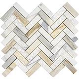 Italian Calacatta (Calcutta) Gold Marble 1 X 3 Herringbone Mosaic Tile, Honed