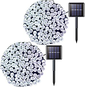 JMEXSUSS 2 Pack Solar String Light 200LED 75.5ft 8 Modes Solar Christmas Lights Waterproof for Gardens, Wedding, Party, Homes, Christmas Tree, Halloween,Curtains, Outdoors (200LED-White-2Pack)