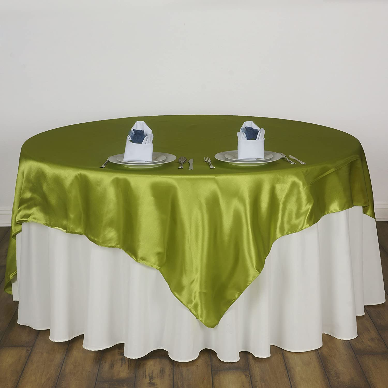 Balsacircle 5 Pcs 60x60 Inch Apple Green Satin Table Overlays